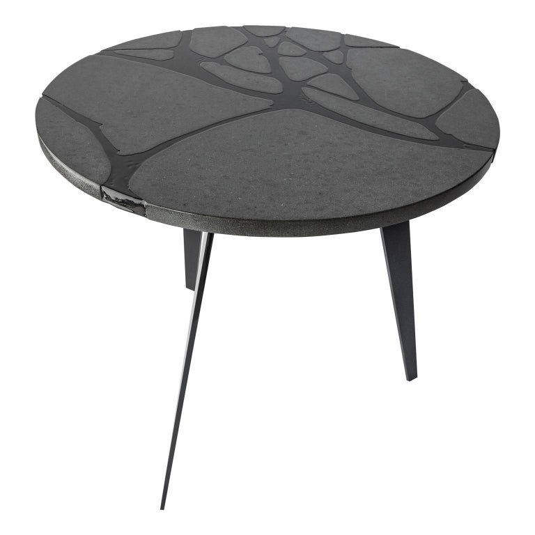 Contemporary Round Outdoor Table in Lava Stone and Steel, Filodifumo For Sale