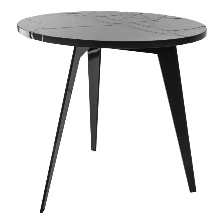 Italian Contemporary Round Outdoor Table in Lava Stone and Steel, Filodifumo For Sale