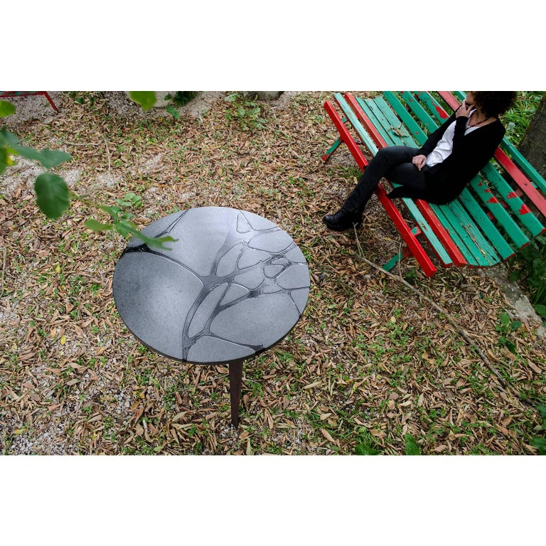 Contemporary Round Outdoor Table in Lava Stone and Steel, Filodifumo For Sale 1