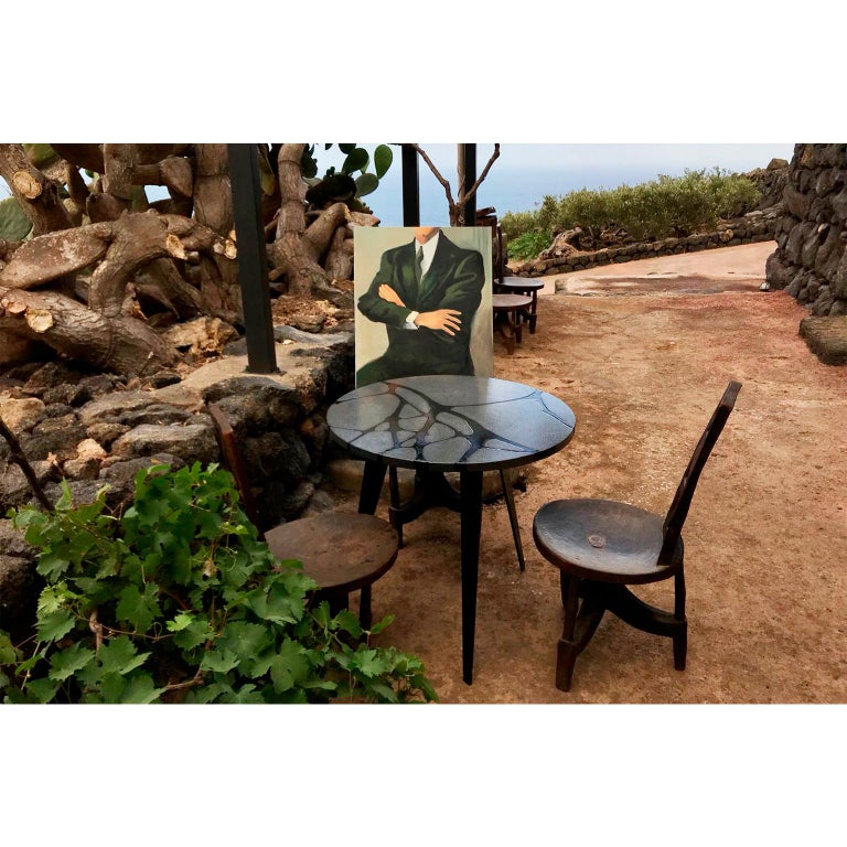 Contemporary Round Outdoor Table in Lava Stone and Steel, Filodifumo In New Condition For Sale In Palermo, IT
