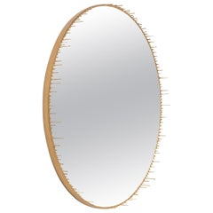 Contemporary Round Resin Drip Mirror in Metallic Gold by Elyse Graham