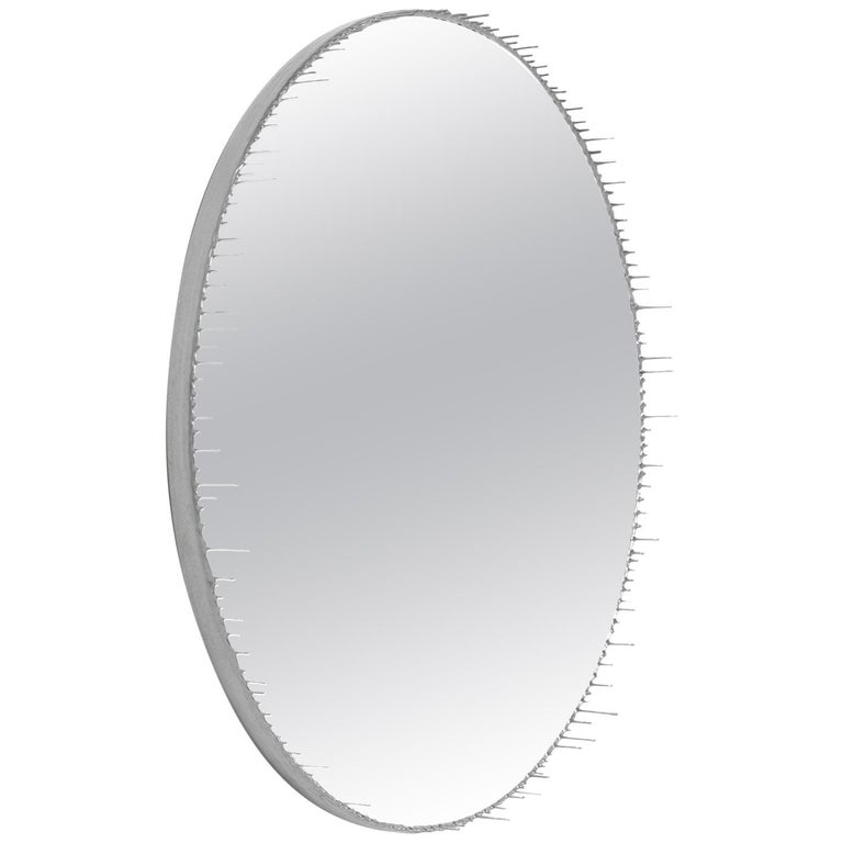 Contemporary Round Resin Drip Mirror in Metallic Silver by Elyse Graham For Sale