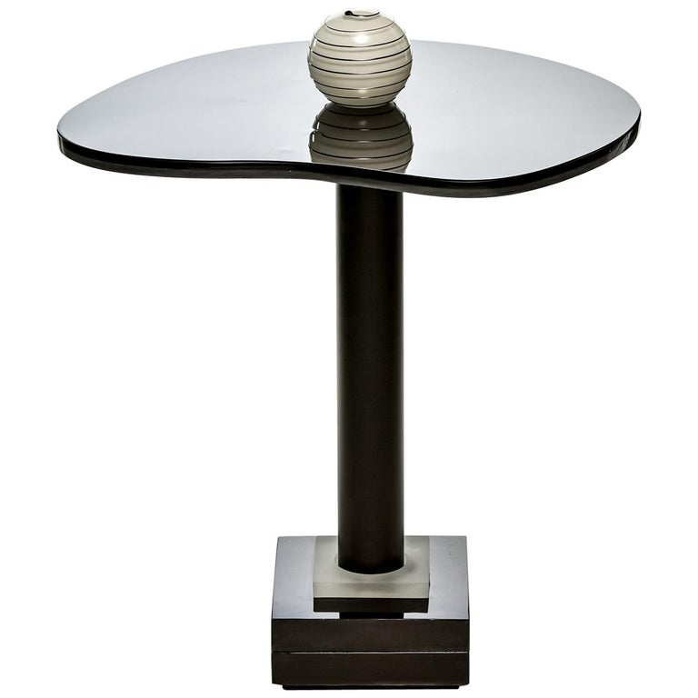 Contemporary Round Side and Coffee Tables Murano Glass Black and White 1 For Sale
