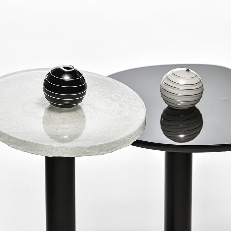 Modern Contemporary Round Side and Coffee Tables Murano Glass Black and White For Sale