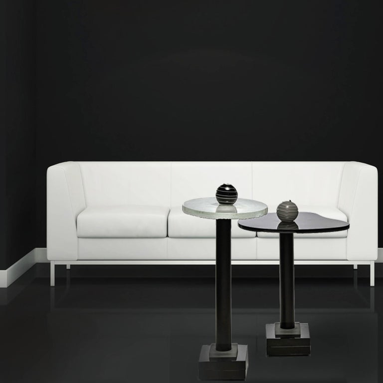Hand-Crafted Contemporary Round Side and Coffee Tables Murano Glass Black and White For Sale