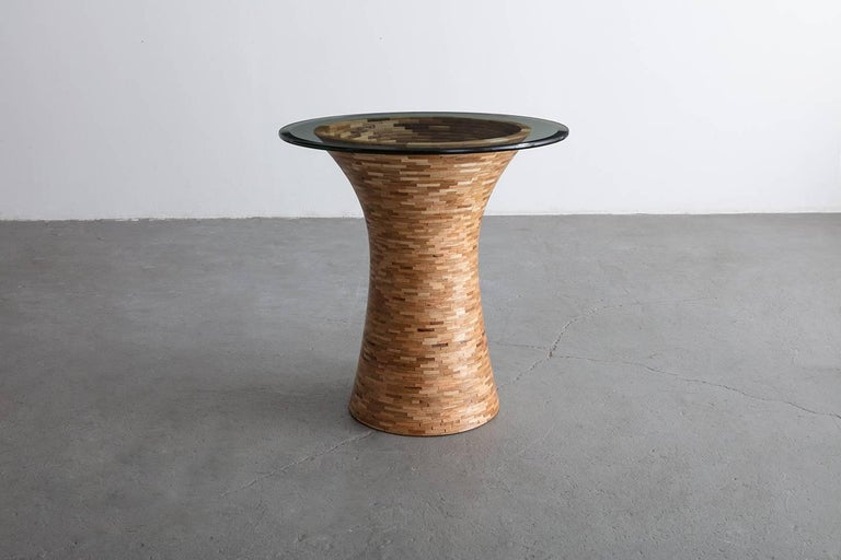 American STACKED Round Side Table by Richard Haining, Custom, Coffee Table For Sale