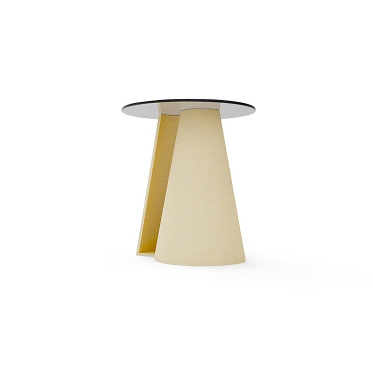 Mid-Century Modern Contemporary Round Side Table in Solid Wood and Glass Top Matte Natural Finish For Sale