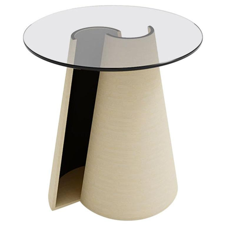 Contemporary Round Side Table in Solid Wood and Glass Top Matte Natural Finish For Sale