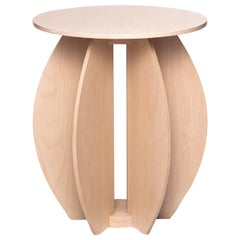 Contemporary Round Side Table in Solid Wood with Matte Natural Finish