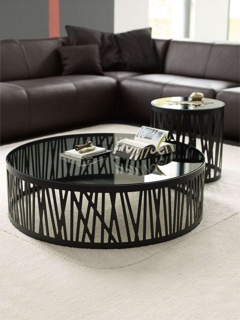 Painted Contemporary Round Side Table with Smoked Black Glass Top and Metal under Frame For Sale