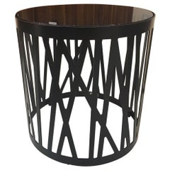 Contemporary Round Side Table with Smoked Black Glass Top and Metal under Frame