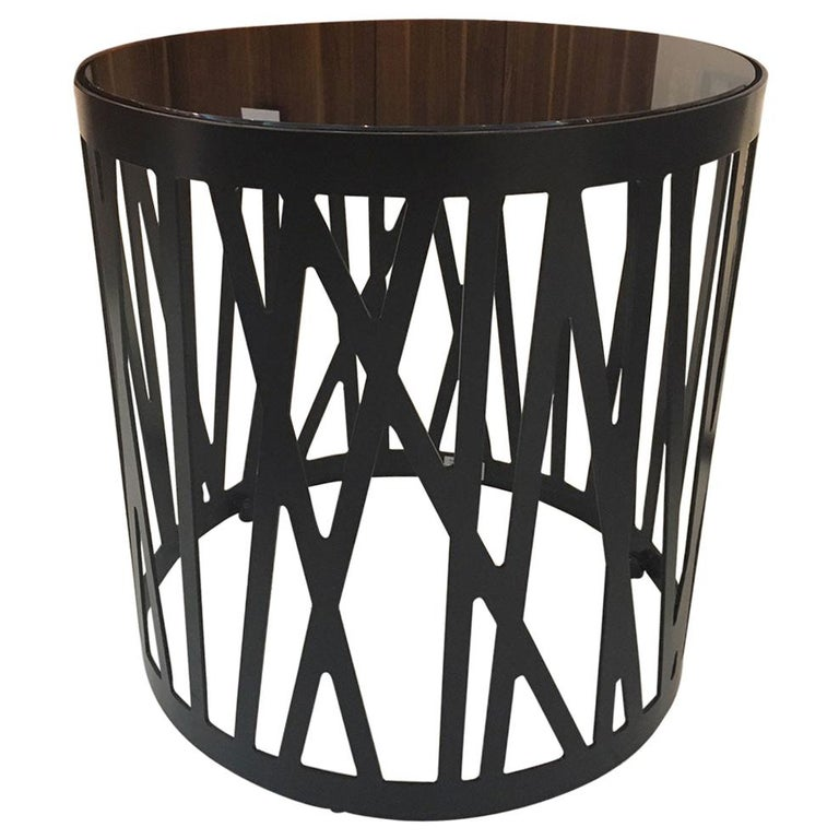 Contemporary Round Side Table with Smoked Black Glass Top and Metal under Frame For Sale