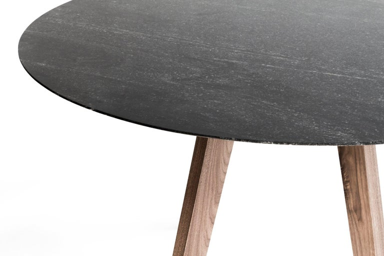 Contemporary Round Table, Walnut Designed by LCMX For Sale 1