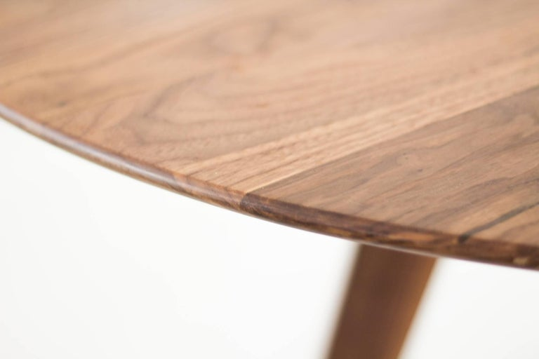 Mid-Century Modern Contemporary Round Table, Walnut Designed by LCMX For Sale