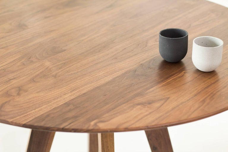 Varnished Contemporary Round Table, Walnut Designed by LCMX For Sale