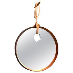 Contemporary Round Wood Mirror with Shotgun Bullet Hole and Passing Rope