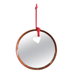 Contemporary Round Wood Wall Mirror with Heart Shaped Hole and Passing Rope
