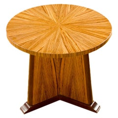 Contemporary Round Zebra Wood Table in the Art Deco Style