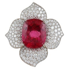 Contemporary Rubellite Tourmaline Diamond Platinum Flower Ring