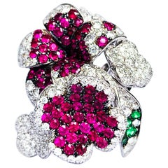 "Contemporary Ruby and Diamond ""Flower"" Ring in White Gold"