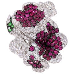 """Contemporary Ruby and Diamond """"Flower"""" Ring in White Gold"""
