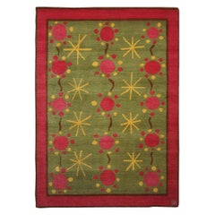 Contemporary Rug 37 Green, Pink & Yellow in Scandinavian Style