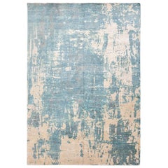 Contemporary Rug Abstract Design in Soft Blue Colors