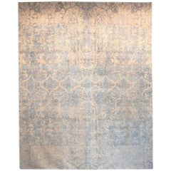 Contemporary Rug Abstract Design on Blue and White Colors