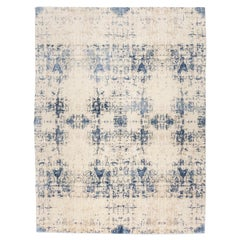 Contemporary Rug Abstract Design on Blue and White Colors.