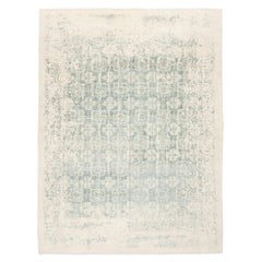 Contemporary Rug Abstract Design on Green and White Colors
