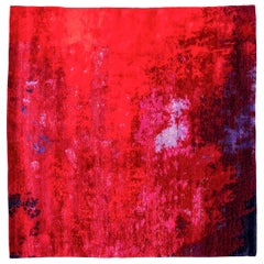 Contemporary Rug, Abstract Design over Red Background