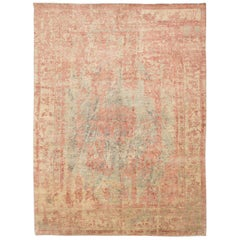 Contemporary Abstract Handmade Green and Pink Silk and Wool Rug