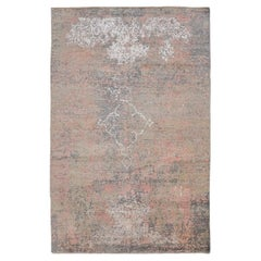 Contemporary Rug, Abstract Design with Gray and Pink Colors