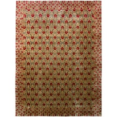 Rug & Kilim's Contemporary Rug Beige Green Samarkand Style Floral Pattern
