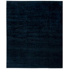 Contemporary Midnight Rug II Solid Hand-knotted Wool Rug