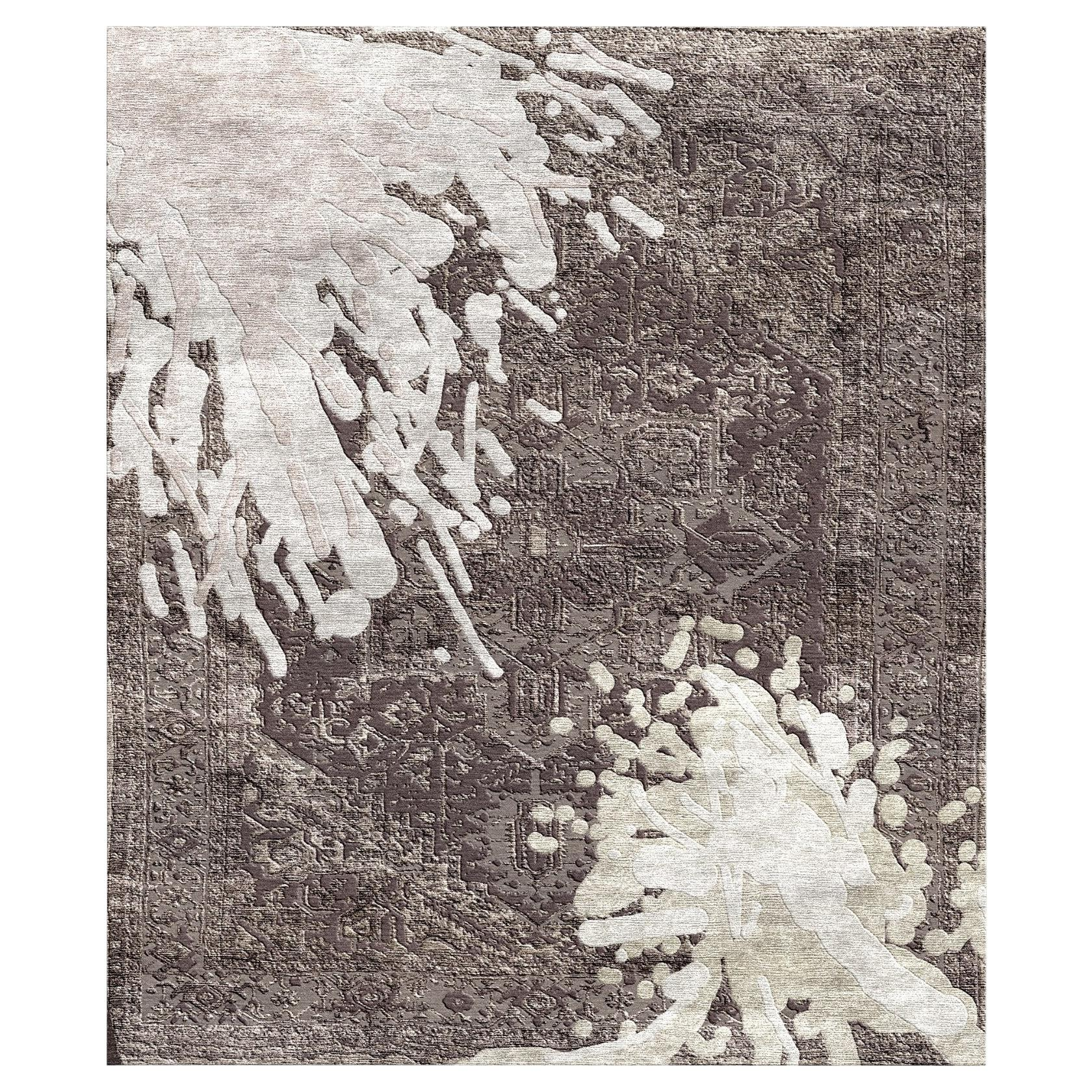 Contemporary Rug Heriz Splashed Hand Knotted Modern Design Wool and Silk