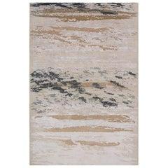 "Contemporary Rug in Ivory, Handmade of Silk Hemp Mohair Wool, ""Wildcard Fusion"""