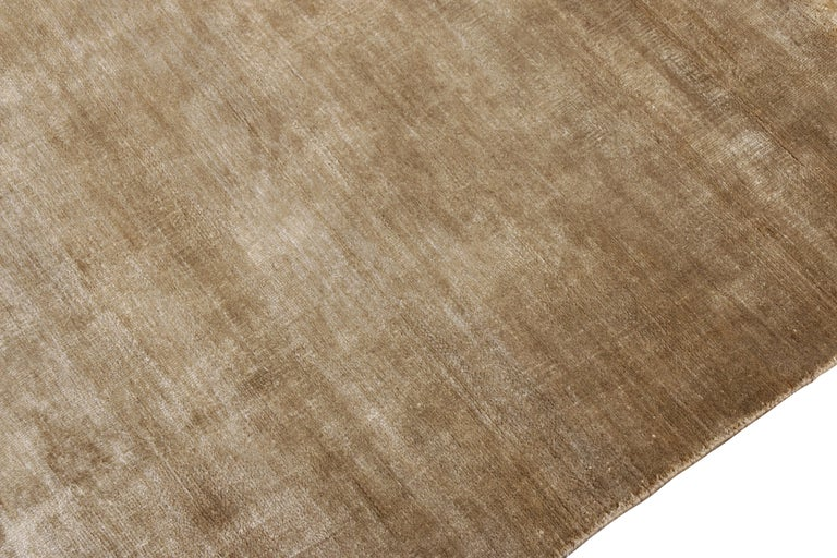 Indian Rug & Kilim's Contemporary Rug in Solid Beige Brown Open Field For Sale