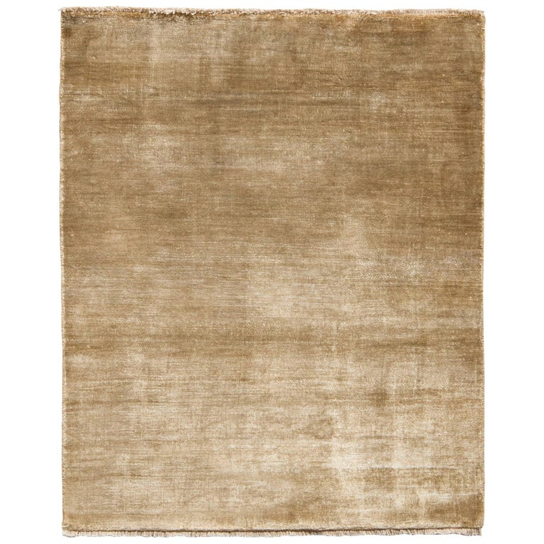 Rug & Kilim's Contemporary Rug in Solid Beige Brown Open Field For Sale