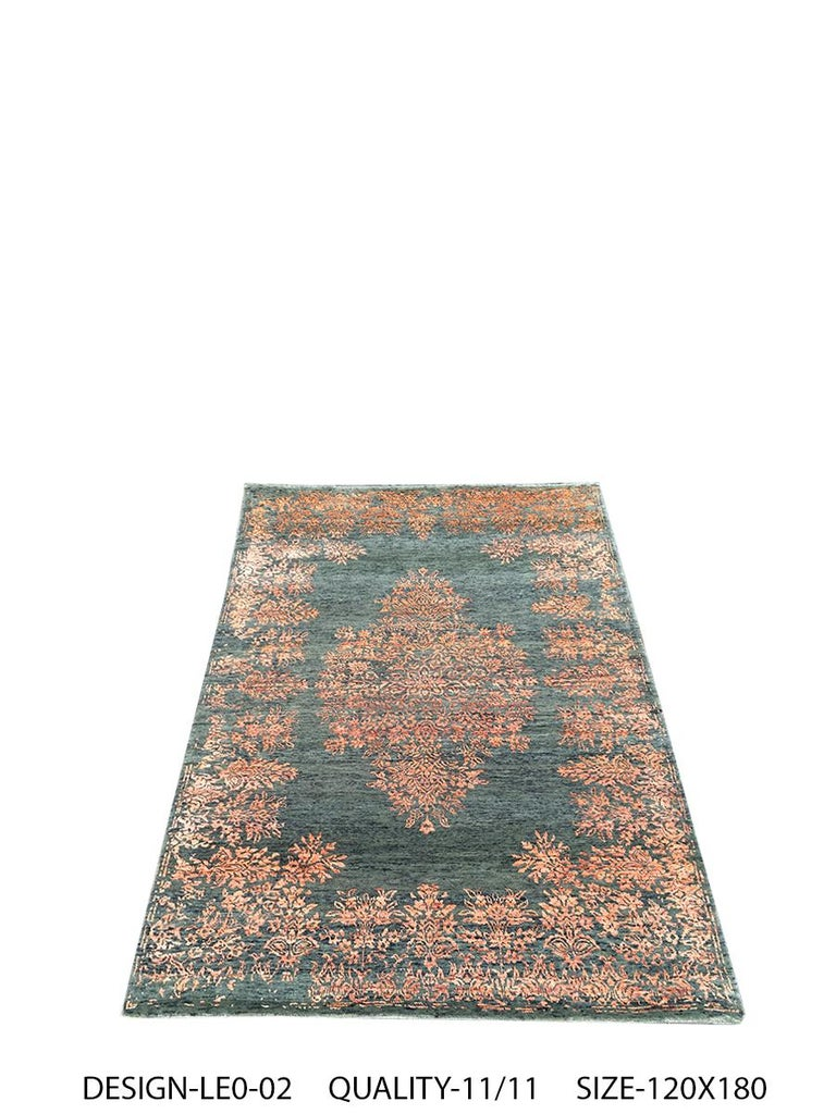 Modern Contemporary Rug with Orange and Green Floral Medallion Pattern by Rug & Kilim For Sale