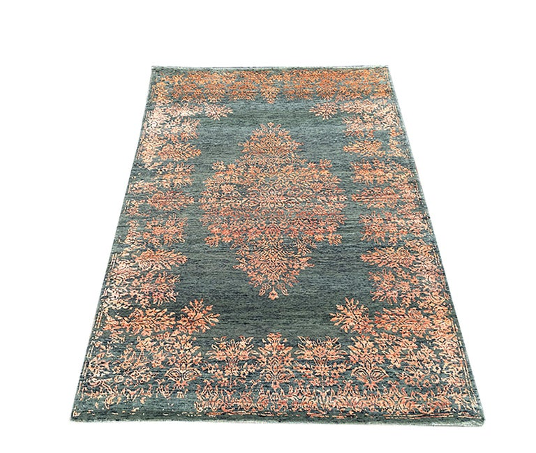 Indian Contemporary Rug with Orange and Green Floral Medallion Pattern by Rug & Kilim For Sale