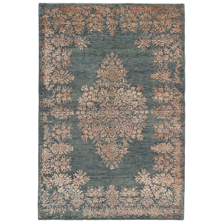 Contemporary Rug with Orange and Green Floral Medallion Pattern by Rug & Kilim For Sale