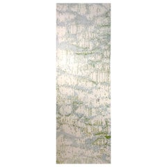 "Contemporary Runner Rug Ivory Grey, Handmade of Silk and Wool ""Glow"""