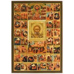 Contemporary Russian Orthodox Icon of Saint Nicholas, Famous Palekh Art School