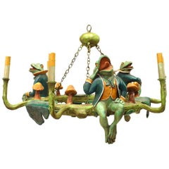 Contemporary Rustic Light Fixture with Frogs and Lily Pads