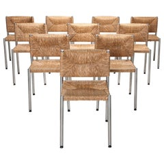 Contemporary Rustic Modern Chairs in Seagrass and Aluminum