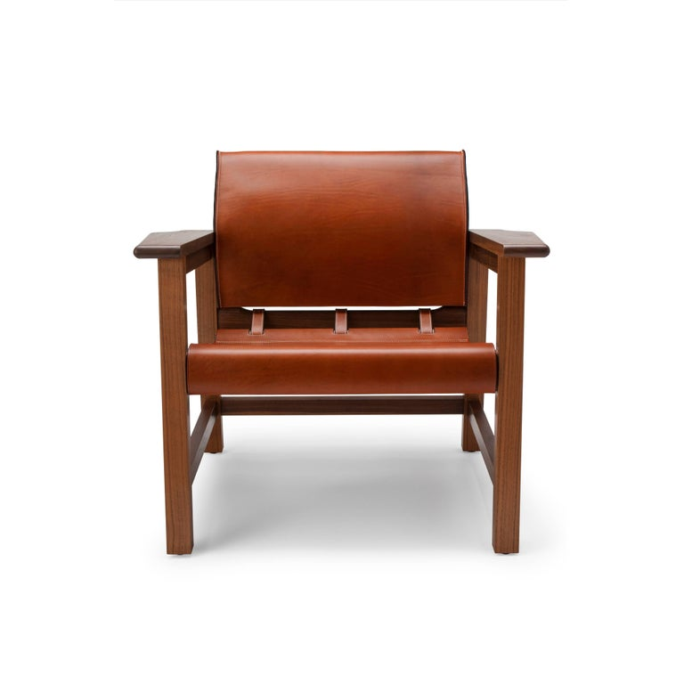 Modern Contemporary Saddle Up Armchair in Tan Saddle Leather and Natural Walnut For Sale
