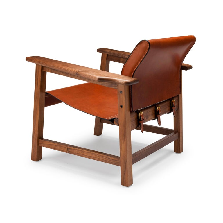 English Contemporary Saddle Up Armchair in Tan Saddle Leather and Natural Walnut For Sale