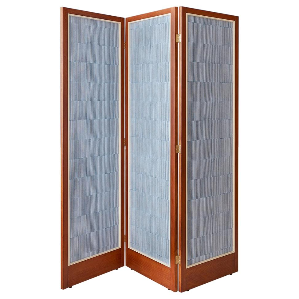 Contemporary Salem Charabi Paravent in Beech Wood with Wallpaper Panel, Denmark