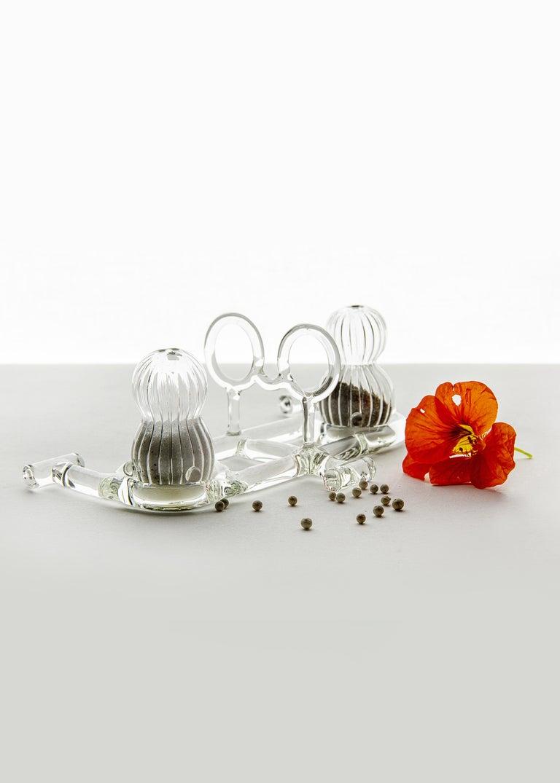 Modern Contemporary Salt and Pepper Shaker Tableware Kitchen Set Glass Handmade For Sale